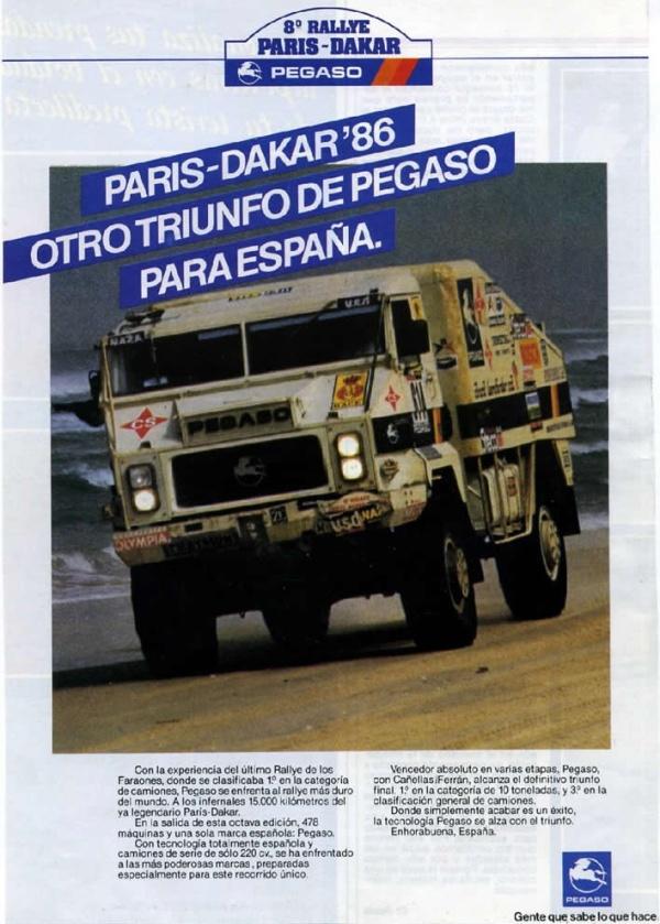 Pagaso campeon del Dakar 1986