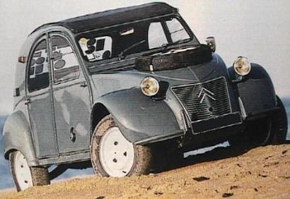 Citroën 2cv Sahara. Vista frontal.
