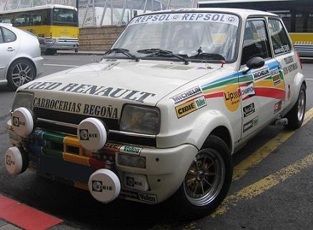 Renault 5 Grupo 2. Vista frontal. Aletines