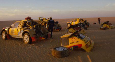 Equipo Camel Peugeot 205 T16 Grand Raid en el Dakar de 1.987